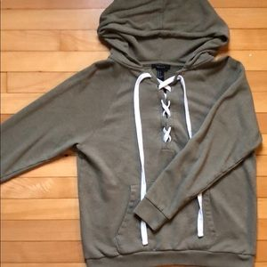 olive green lace up hoodie